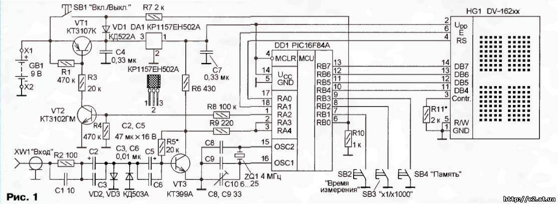 многофункциональный частотомер на PIC16f84