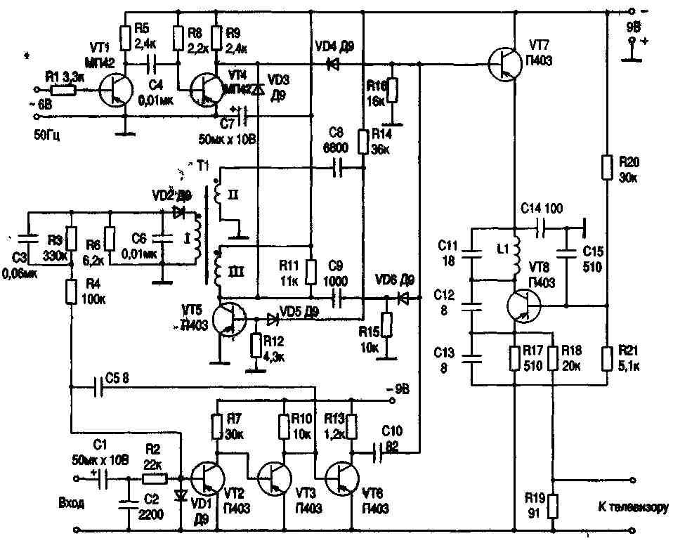 Приставка схема которой показана на рис 3 19 превращает любой телевизор в осциллограф с большим экраном приставку...